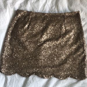 Tobi gold sequined scalloped edge mini skirt